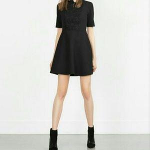 Zara black high ruffle neck skater dress
